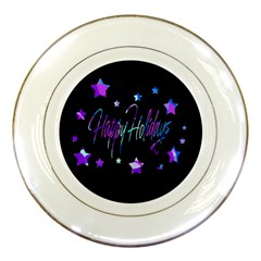Happy Holidays 6 Porcelain Plates by Valentinaart