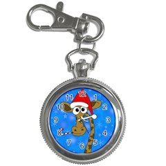 Xmas Giraffe   Blue Key Chain Watches by Valentinaart