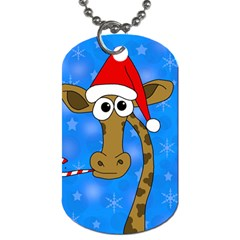 Xmas Giraffe   Blue Dog Tag (two Sides) by Valentinaart