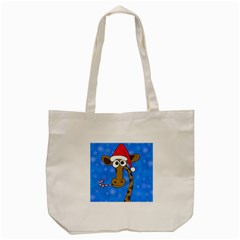 Xmas Giraffe   Blue Tote Bag (cream) by Valentinaart