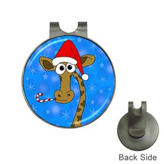 Xmas Giraffe   Blue Hat Clips With Golf Markers by Valentinaart
