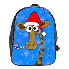 Xmas Giraffe   Blue School Bags(large)  by Valentinaart