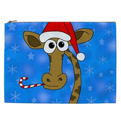Xmas Giraffe   Blue Cosmetic Bag (xxl)  by Valentinaart