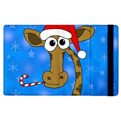 Xmas Giraffe   Blue Apple Ipad 3/4 Flip Case by Valentinaart