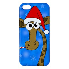 Xmas Giraffe   Blue Apple Iphone 5 Premium Hardshell Case by Valentinaart