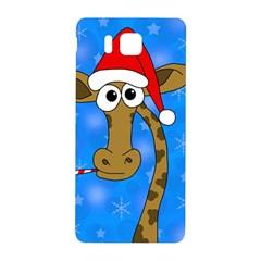 Xmas Giraffe   Blue Samsung Galaxy Alpha Hardshell Back Case by Valentinaart