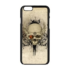 Awesome Skull With Flowers And Grunge Apple Iphone 6/6s Black Enamel Case by FantasyWorld7