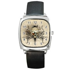 Awesome Skull With Flowers And Grunge Square Metal Watch by FantasyWorld7