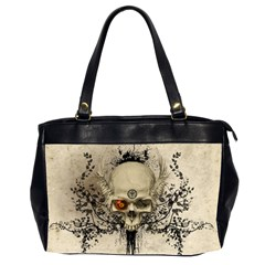Awesome Skull With Flowers And Grunge Office Handbags (2 Sides)  by FantasyWorld7