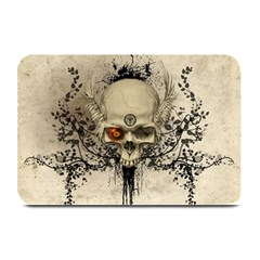 Awesome Skull With Flowers And Grunge Plate Mats by FantasyWorld7