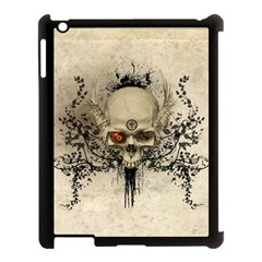 Awesome Skull With Flowers And Grunge Apple Ipad 3/4 Case (black) by FantasyWorld7