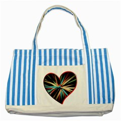 Above & Beyond Striped Blue Tote Bag by Onesevenart
