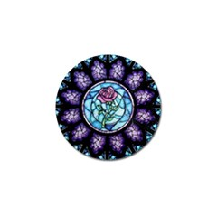 Cathedral Rosette Stained Glass Beauty And The Beast Golf Ball Marker (10 Pack) by Onesevenart