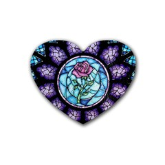 Cathedral Rosette Stained Glass Beauty And The Beast Rubber Coaster (heart)  by Onesevenart