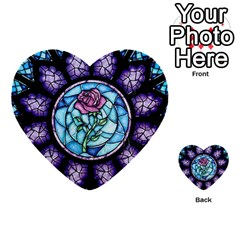 Cathedral Rosette Stained Glass Beauty And The Beast Multi Purpose Cards (heart)  by Onesevenart