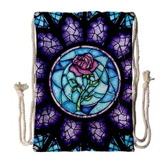 Cathedral Rosette Stained Glass Beauty And The Beast Drawstring Bag (large) by Onesevenart