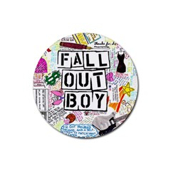 Fall Out Boy Lyric Art Rubber Round Coaster (4 Pack)  by Onesevenart