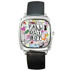 Fall Out Boy Lyric Art Square Metal Watch by Onesevenart