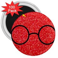 Glasses And Lightning Glitter 3  Magnets (100 Pack) by Onesevenart