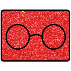 Glasses And Lightning Glitter Double Sided Fleece Blanket (large)  by Onesevenart