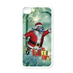 Funny Santa Claus In The Underwater World Apple Iphone 4 Case (white) by FantasyWorld7