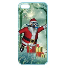 Funny Santa Claus In The Underwater World Apple Seamless Iphone 5 Case (color) by FantasyWorld7