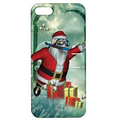 Funny Santa Claus In The Underwater World Apple Iphone 5 Hardshell Case With Stand by FantasyWorld7
