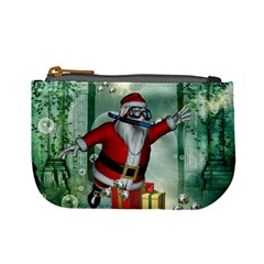 Funny Santa Claus In The Underwater World Mini Coin Purses by FantasyWorld7