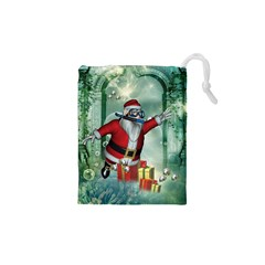 Funny Santa Claus In The Underwater World Drawstring Pouches (xs)  by FantasyWorld7