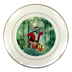 Funny Santa Claus In The Underwater World Porcelain Plates by FantasyWorld7