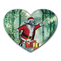 Funny Santa Claus In The Underwater World Heart Mousepads by FantasyWorld7