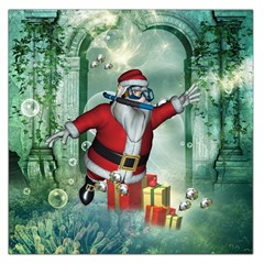 Funny Santa Claus In The Underwater World Large Satin Scarf (square)