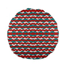 Geometric Waves Standard 15  Premium Round Cushions by dflcprints