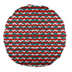 Geometric Waves Large 18  Premium Flano Round Cushions by dflcprints
