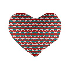 Geometric Waves Standard 16  Premium Flano Heart Shape Cushions by dflcprints