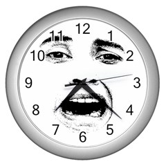 Scared Woman Expression Wall Clocks (silver)  by dflcprints