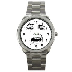 Scared Woman Expression Sport Metal Watch by dflcprints
