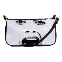 Scared Woman Expression Shoulder Clutch Bags by dflcprints