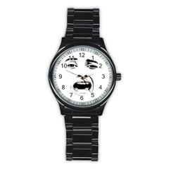 Scared Woman Expression Stainless Steel Round Watch by dflcprints