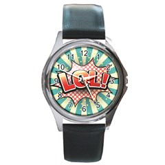 Lol Comic Speech Bubble Vector Illustration Round Metal Watch by Onesevenart
