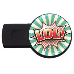 Lol Comic Speech Bubble Vector Illustration Usb Flash Drive Round (4 Gb)  by Onesevenart
