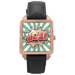 Lol Comic Speech Bubble Vector Illustration Rose Gold Leather Watch  by Onesevenart