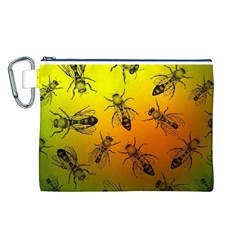 Insect Pattern Canvas Cosmetic Bag (l) by Onesevenart