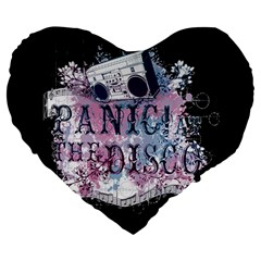 Panic At The Disco Art Large 19  Premium Flano Heart Shape Cushions by Onesevenart