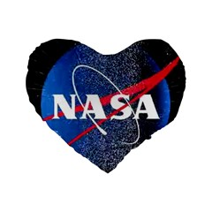 Nasa Logo Standard 16  Premium Flano Heart Shape Cushions by Onesevenart