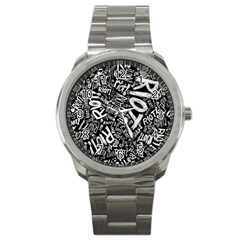 Panic At The Disco Lyric Quotes Retina Ready Sport Metal Watch by Onesevenart