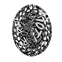 Panic At The Disco Lyric Quotes Retina Ready Oval Filigree Ornament (2 Side)  by Onesevenart
