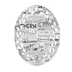 Panic At The Disco Lyrics Oval Filigree Ornament (2 Side)  by Onesevenart