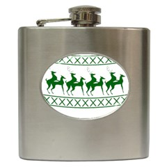Humping Reindeer Ugly Christmas Hip Flask (6 Oz) by Onesevenart