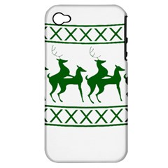 Humping Reindeer Ugly Christmas Apple Iphone 4/4s Hardshell Case (pc+silicone) by Onesevenart